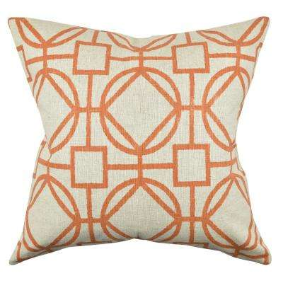 Orange Circle Link Design Throw Pillow