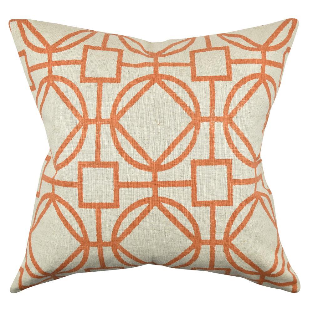 Orange Circle Link Design Throw Pillow