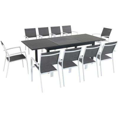 Turner 11-Piece Aluminum Outdoor Dining Set with 10 Sling Dining Chairs and a 40 in. x 94 in. Expandable Table