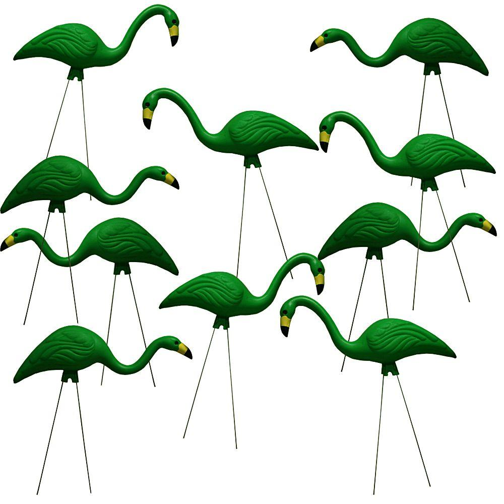 TEAMingos 26 in. Kelly Green Flamingo (10-Pack)