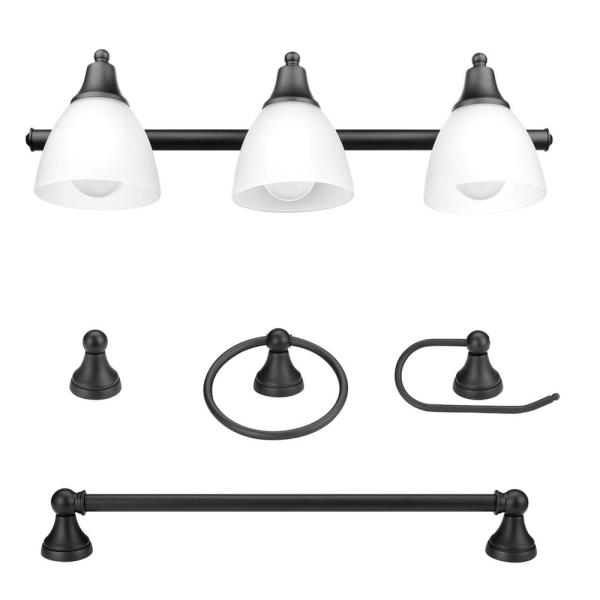 Globe Electric Jayden 3 Light Oil Rubbed Bronze Vanity Light With Frosted Glass Shades And 4 Piece Bath Set 51227 The Home Depot
