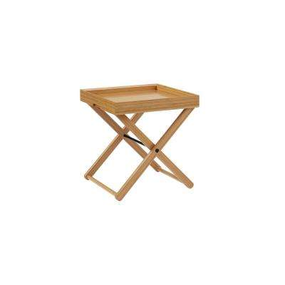 Teline Tray Table 2-Piece Caramelized 100% Solid Classic Bamboo Serving Tray with Folding Stand