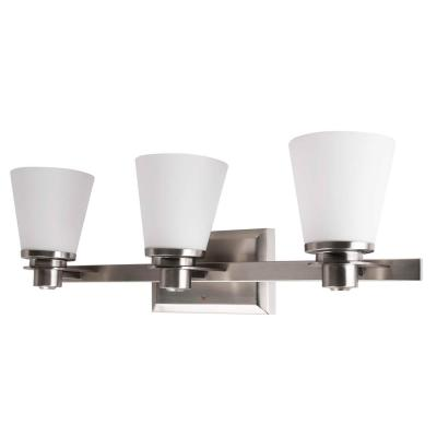 3-Light Brushed Nickel Vanity Lighting with Etched Opal Glass