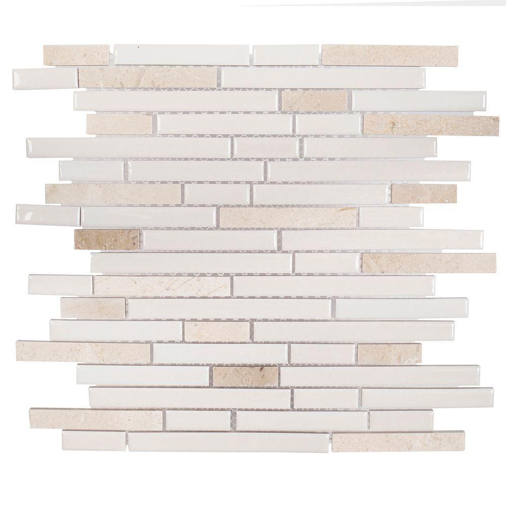 Butter Cream 11-1/2 in. x 11-7/8 in. x 8 mm Ceramic Mosaic Tile