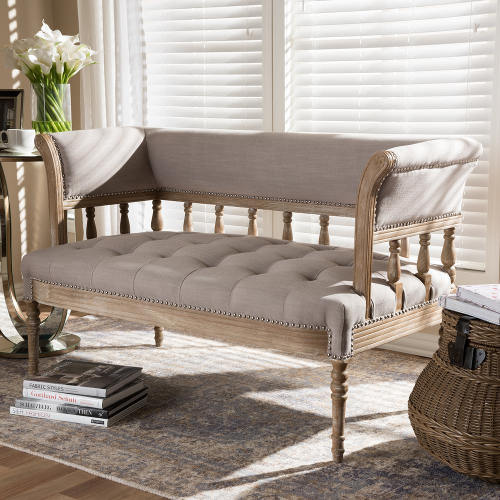 Nora 2-Seater Beige Distressed Oak Wood Linen Upholstered Loveseat