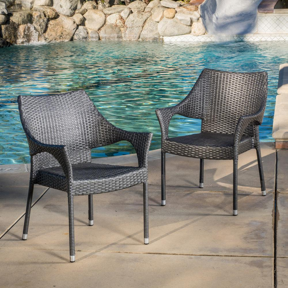 Enjoyable Noble House Cliff Grey Wicker Outdoor Dining Chair Set Of 2 Theyellowbook Wood Chair Design Ideas Theyellowbookinfo