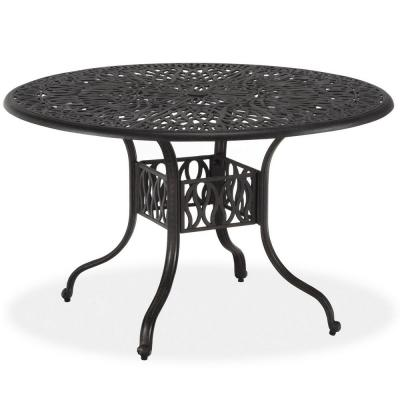 Capri 42 in. Charcoal Gray Round Cast Aluminum Outdoor Dining Table