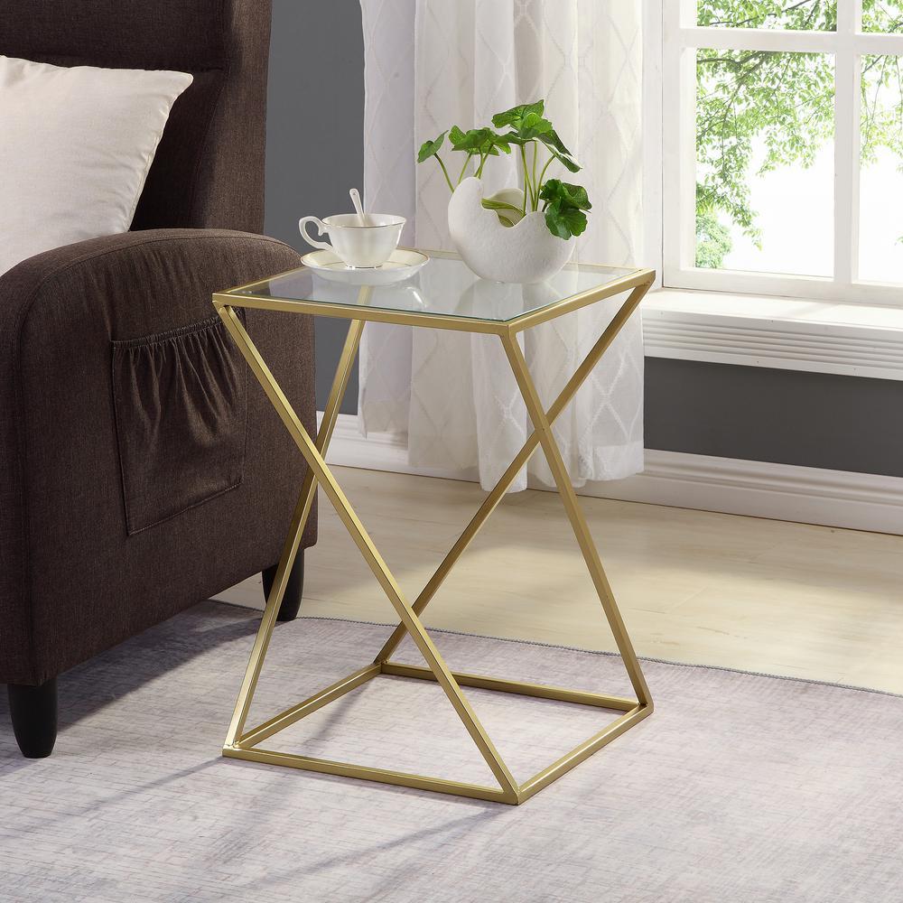 23 in. Geometric Gold Table