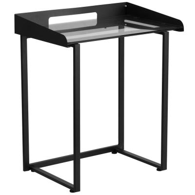 27.5 in. Rectangular Clear/Black Computer Desks with Cable Management