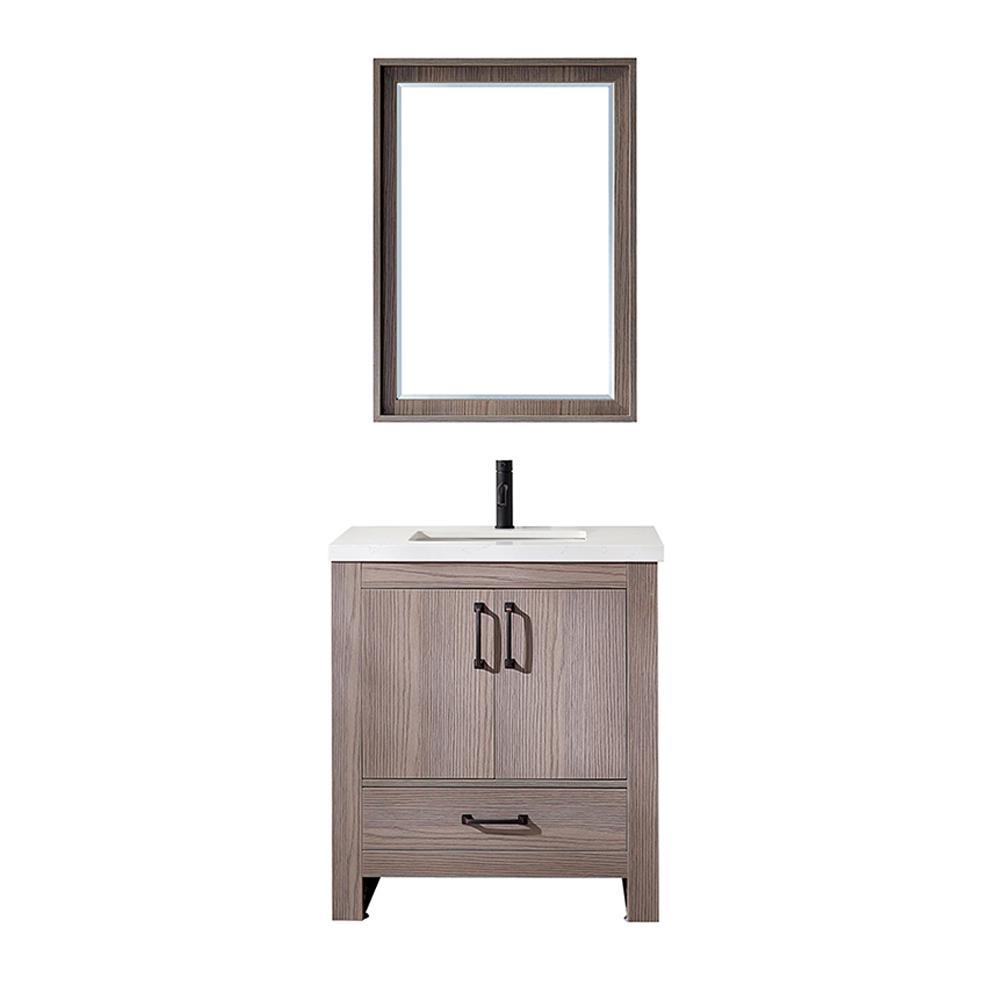 Forli 30 in. W x 22 in. D Bath Vanity in Dark Grey with Quartz Vanity Top in White with White Basin and Mirror