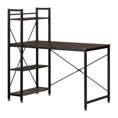 Evane Cracked Fall Oak Industrial Desk with Bookcase