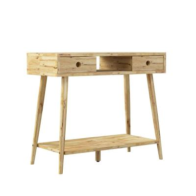Freemont 35.43 in. Natural Rectangle Solid Wood Console Table with 2-Drawers