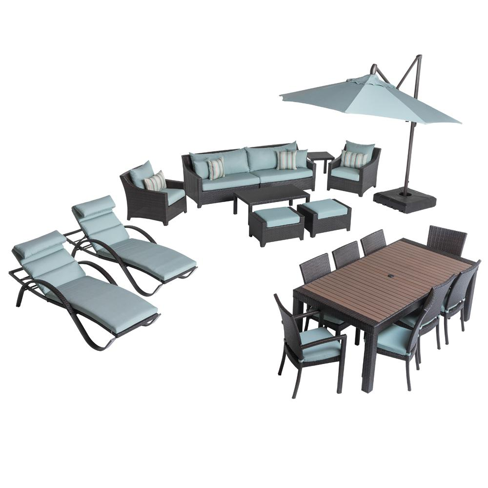 Deco Estate Wicker 20-Piece Patio Conversation Set with Bliss Blue Cushions