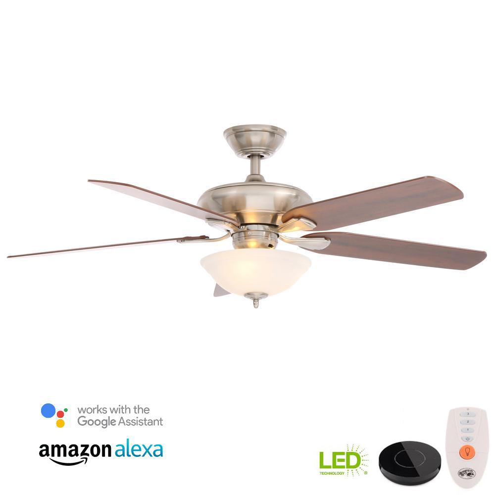 Flowe 52 in. LED Brushed Nickel Ceiling Fan with Light Kit. Hampton Bay ...