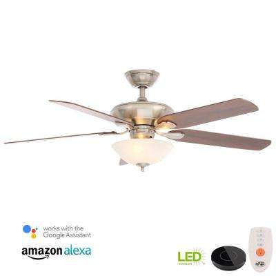 Flowe 52 in. LED Brushed Nickel Ceiling Fan with Light Kit Works with Google Assistant and Alexa