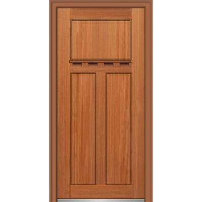 32 in. x 80 in. Shaker Right-Hand Craftsman 3-Panel Stained Fiberglass Fir Prehung Front Door with Dentil Shelf