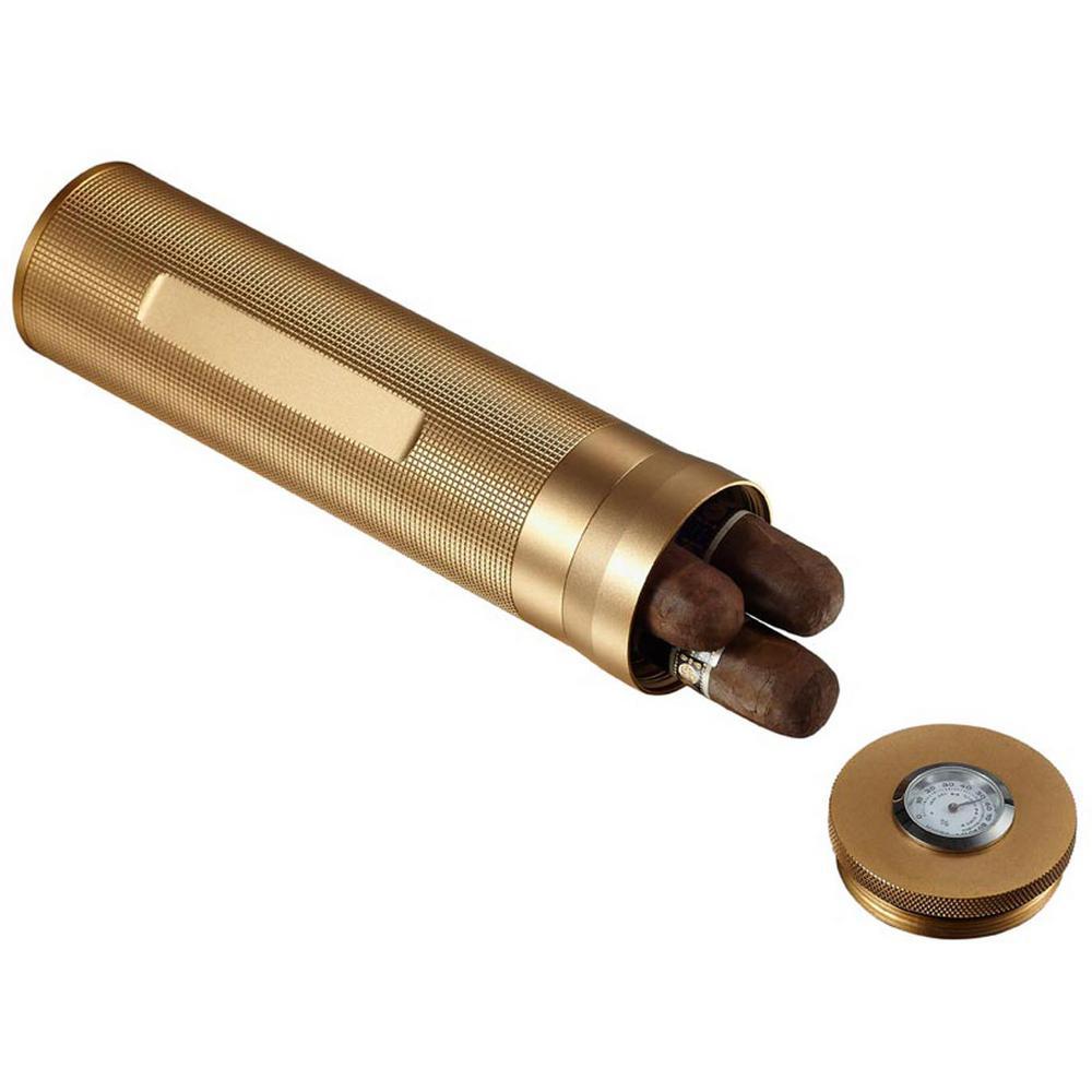 Festus Gold Finish Aluminum Travel Cigar Humidor