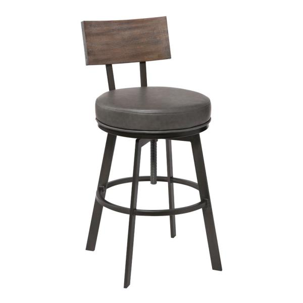 Armen Living Montreal Mineral Grey and Walnut Faux Leather Adjustable Bar