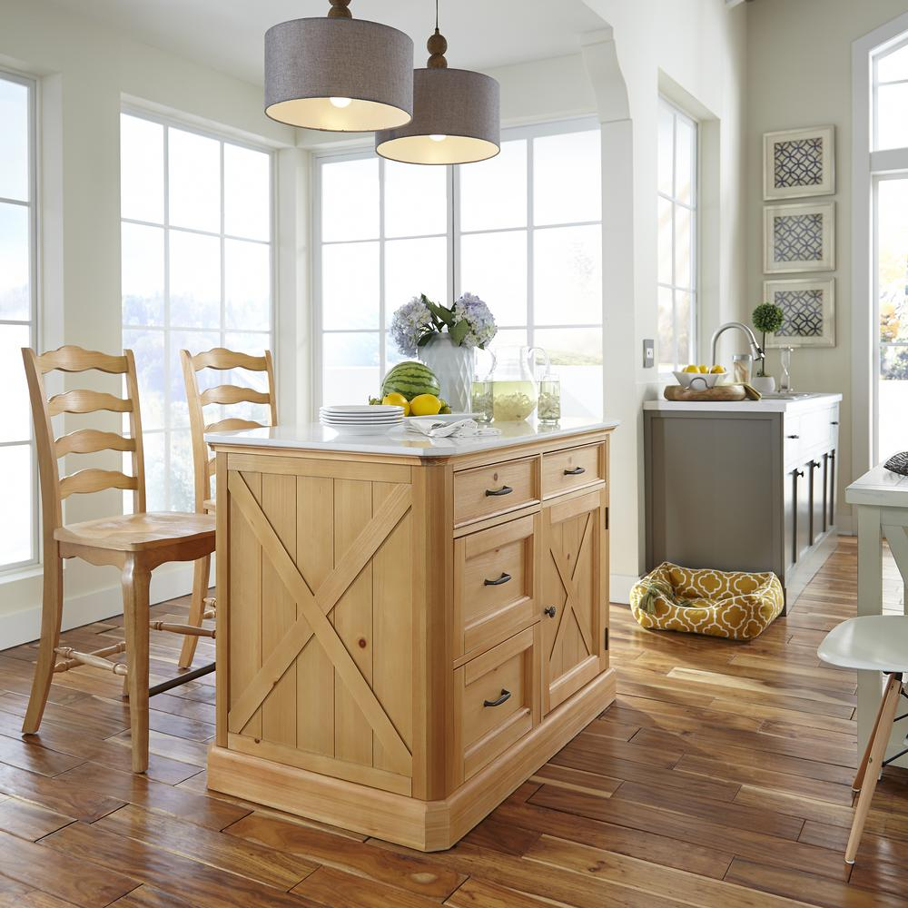 Beau Country Lodge Pine Kitchen Island With Quartz Top And Two Bar Stools