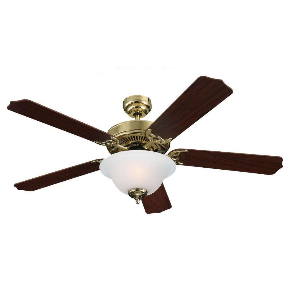 Sea Gull Lighting Quality Max 52 in. Indoor Polished Brass Ceiling Fan-DISCONTINUED
