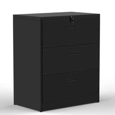Black Anti-Tilt Lateral File Cabinet (3-Drawer)