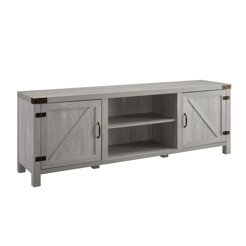 16 in. Stone Gray Wood TV Stand Fits TVs Up to 80 in. with Storage Doors
