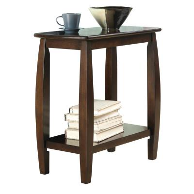 Chairside Table with Bowed Legs and Storage Shelf Cappuccino