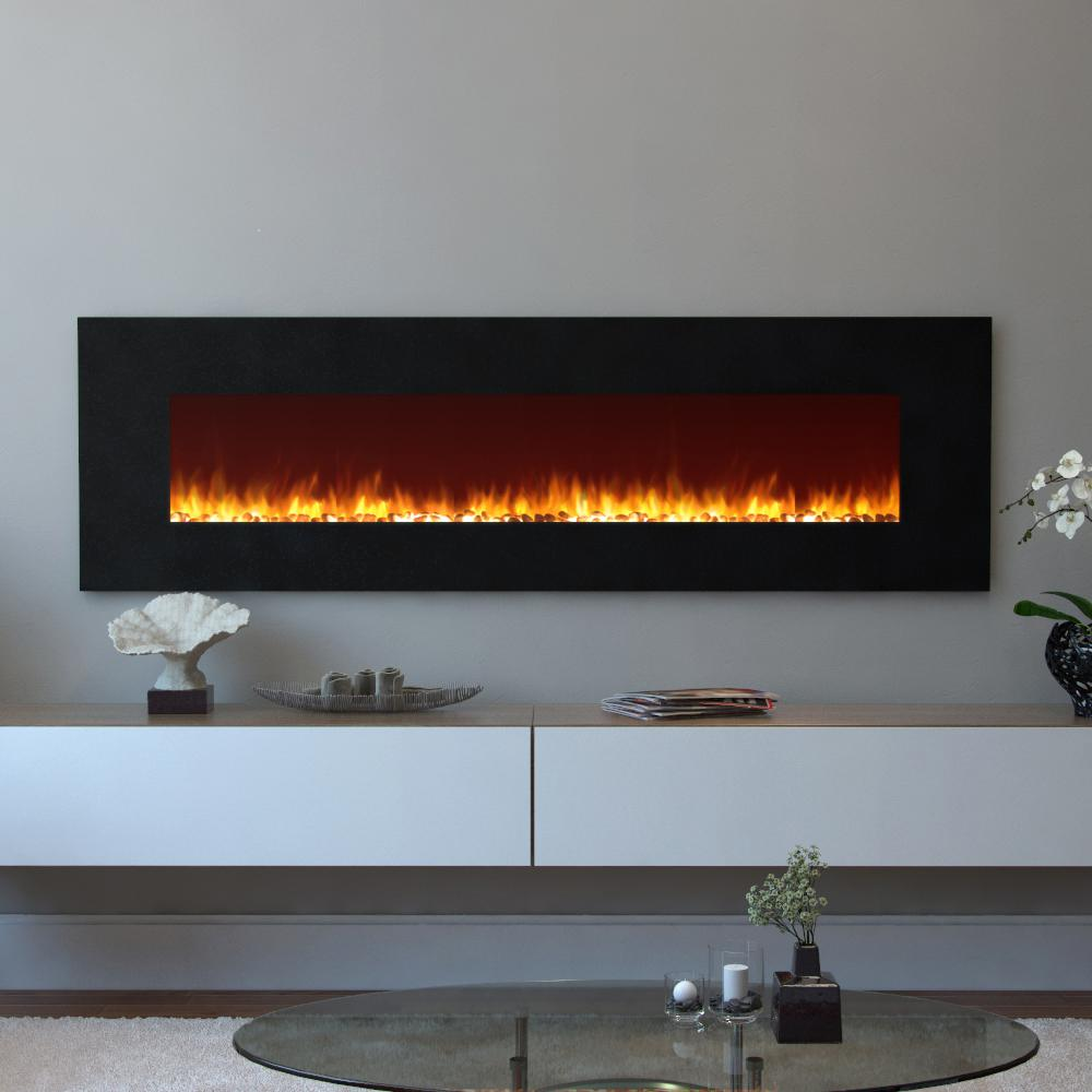 Moda flame skyline 72 in skyline pebble electric wall for 24 wall mount electric fireplace
