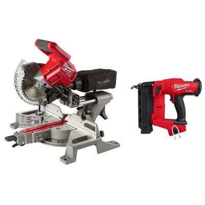 M18 FUEL 18-Volt Lithium-Ion Brushless 7-1/4 in. Cordless Dual Bevel Sliding Compound Miter Saw w/18-Gauge Brad Nailer