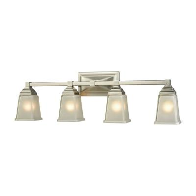 Sinclair 4-Light Brushed Nickel With Frosted Glass Bath Light