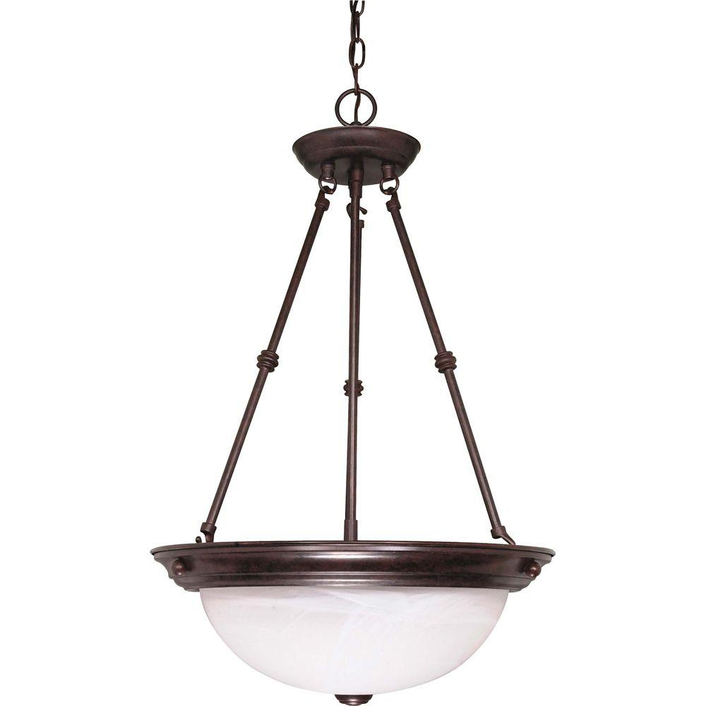 Glomar Tra 3 Light Old Bronze Pendant With Alabaster Glass