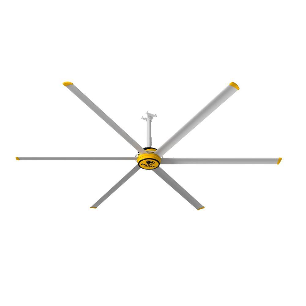Big Ass Fans 3600 12 ft. Indoor Yellow and Silver Aluminum Shop Ceiling Fan with Wall Control