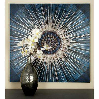36 in. x 36 in. Radial Pattern Burst-Style with Geometric Design Center Printed Framed Canvas Wall Art