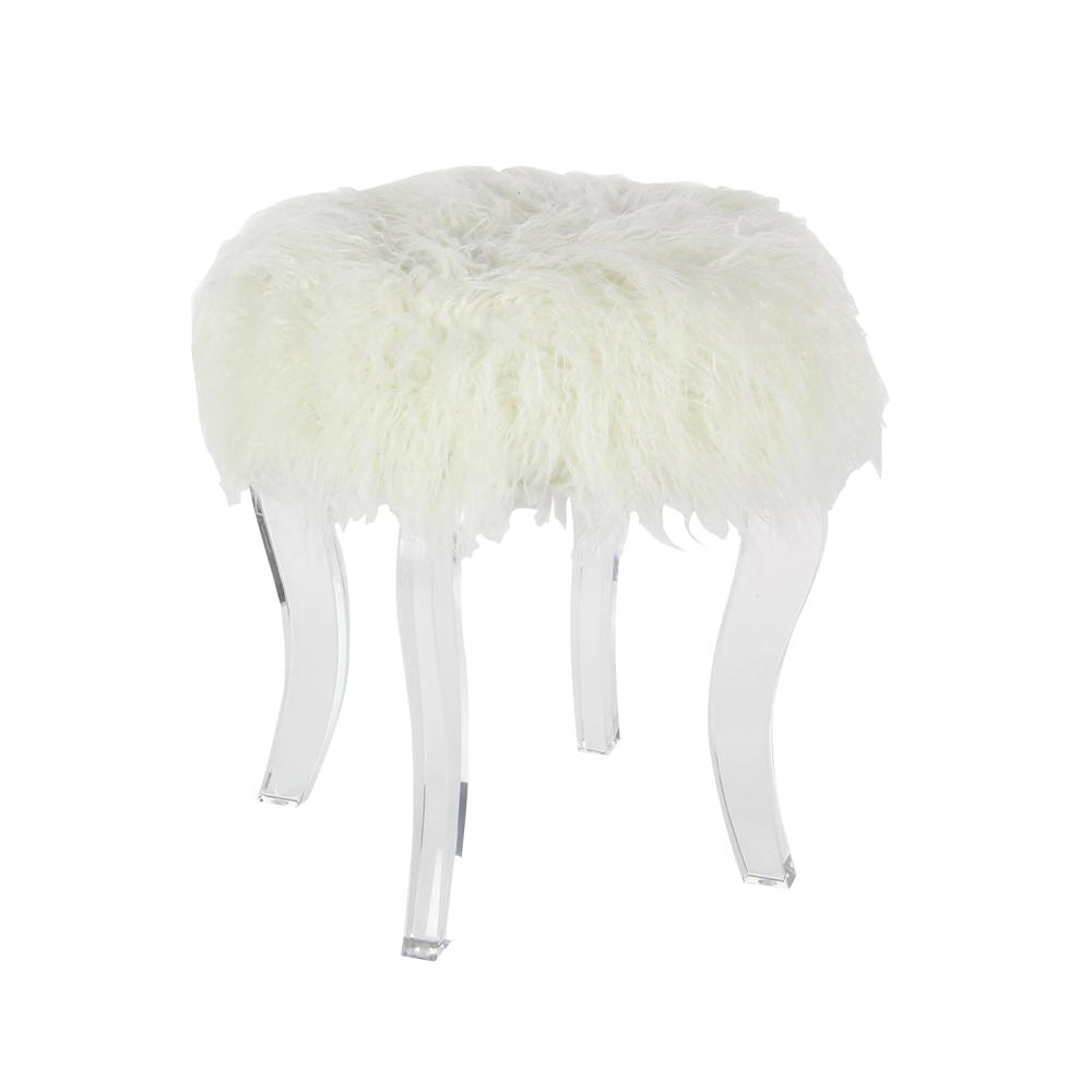 18 In X 16 In Wood And Acrylic White Fur Foot Stool
