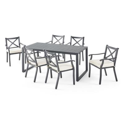 Navan 30 in. Black 7-Piece Aluminum Rectangular Outdoor Dining Set with Ivory Cushions