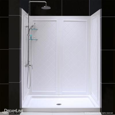 SlimLine 34 in. x 60 in. Single Threshold Shower Base in White Center Drain Base with Back Walls
