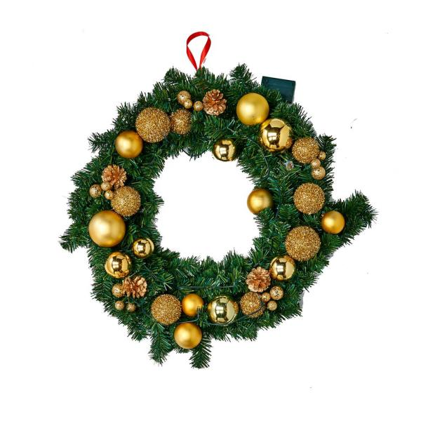 24 in. 20-Light Wreath with Timer