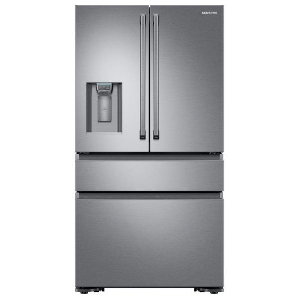 Samsung 22 6 Cu Ft 4 Door French Door Refrigerator With Polygon Handle In Stainless Steel Counter Depth Rf23m8090sr The Home Depot