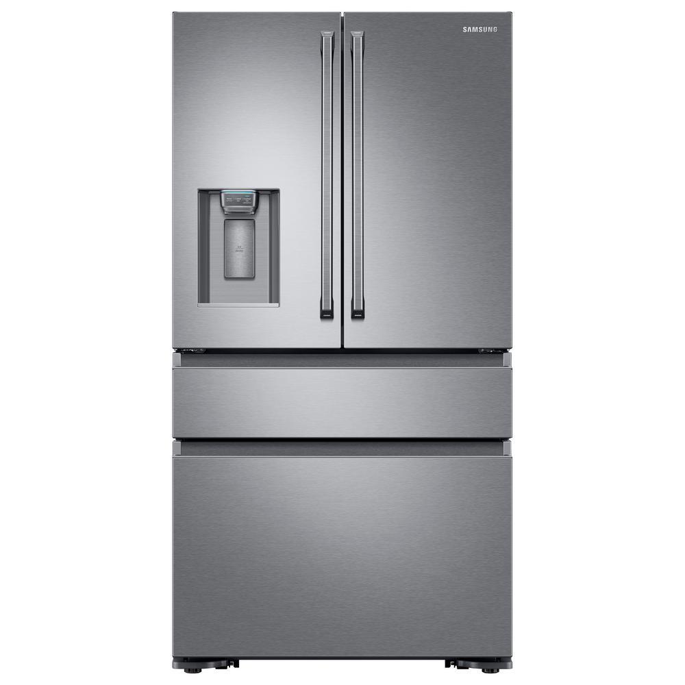 Samsung 22.6 cu. ft. 4-Door French Door Refrigerator with Polygon Handle in Stainless Steel, Counter Depth