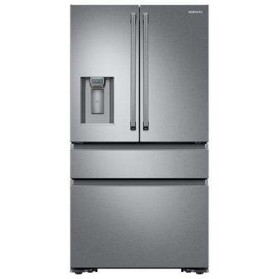 22.6 cu. ft. 4-Door French Door Refrigerator with Polygon Handle in Stainless Steel, Counter Depth