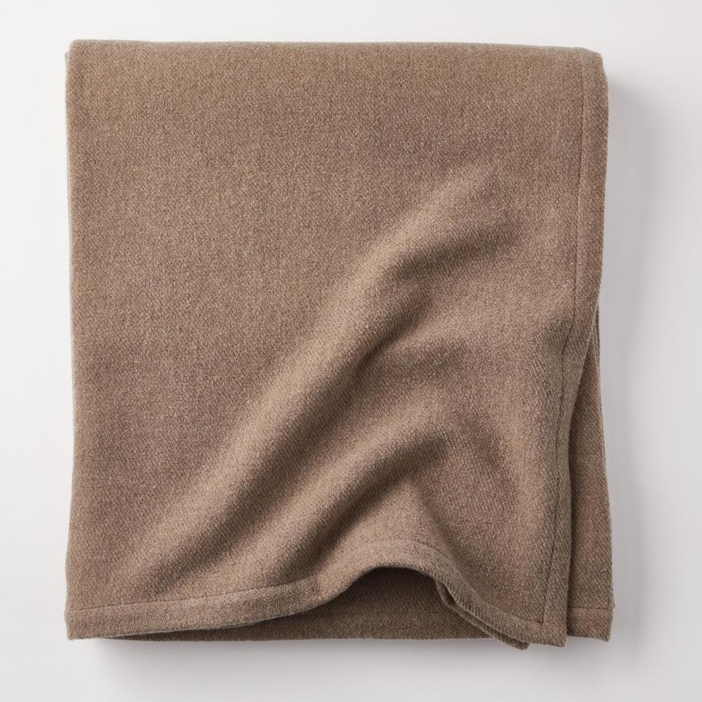 Lambswool Solid Oatmeal Twin Woven Blanket