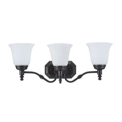 3-Light Oil Rubbed Bronze Vanity Light with Frosted Glass Shade