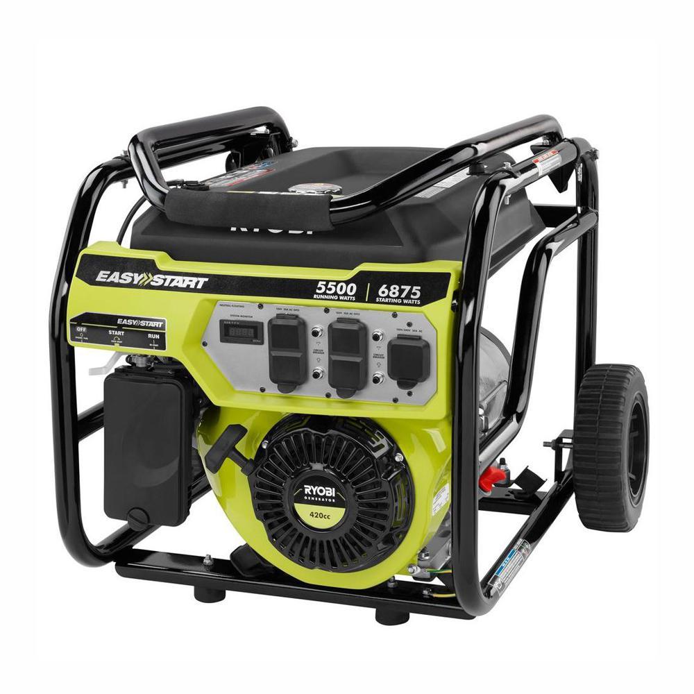 RYOBI 5,500 Running Watt Gasoline Powered Portable Generator