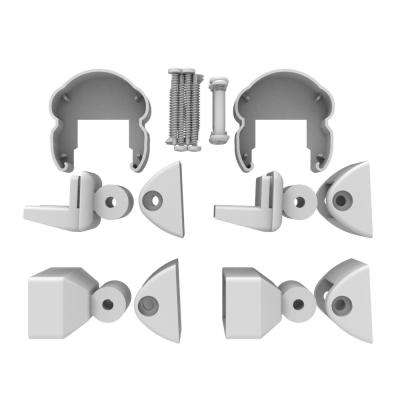 AVALON Powder Coated Aluminum Pellinore Stair Bracket Kit in White with 2 Top and 2 Bottom Brackets