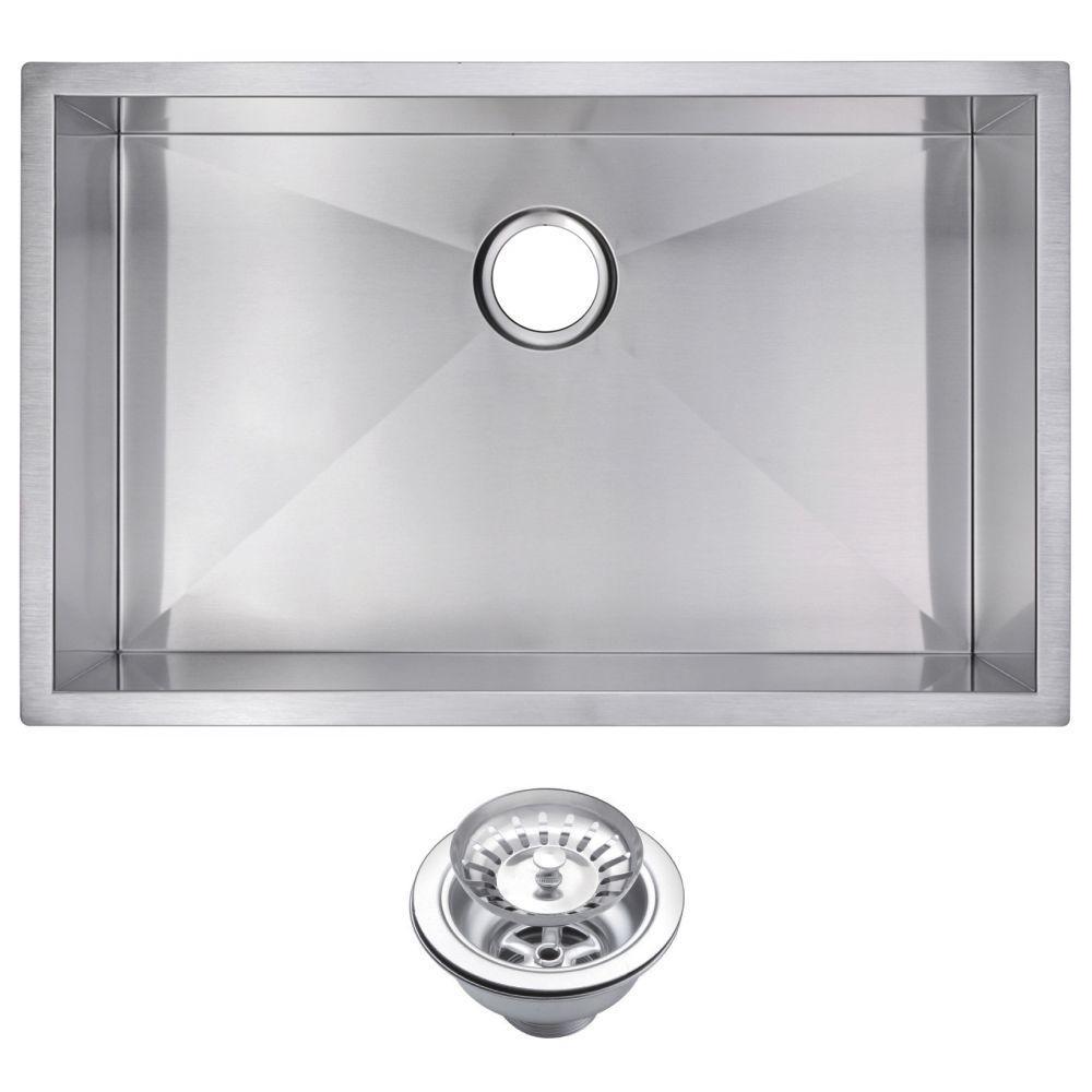 Undermount Zero Radius Stainless Steel 30.in 0-Hole Single Bowl Kitchen Sink with Strainer in Satin Finish