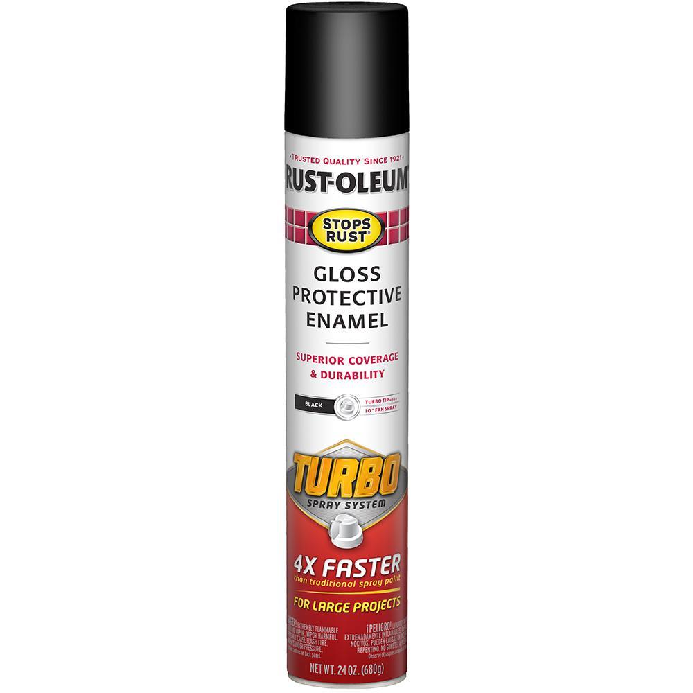 Rust-Oleum Stops Rust 24 oz. Turbo Spray System Gloss Black Spray Paint