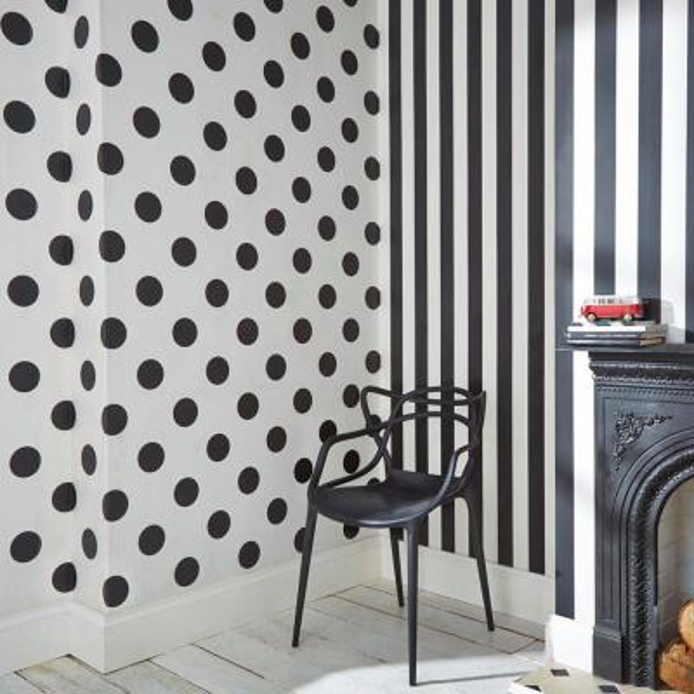 Black and White Monochrome Stripe Removable Wallpaper
