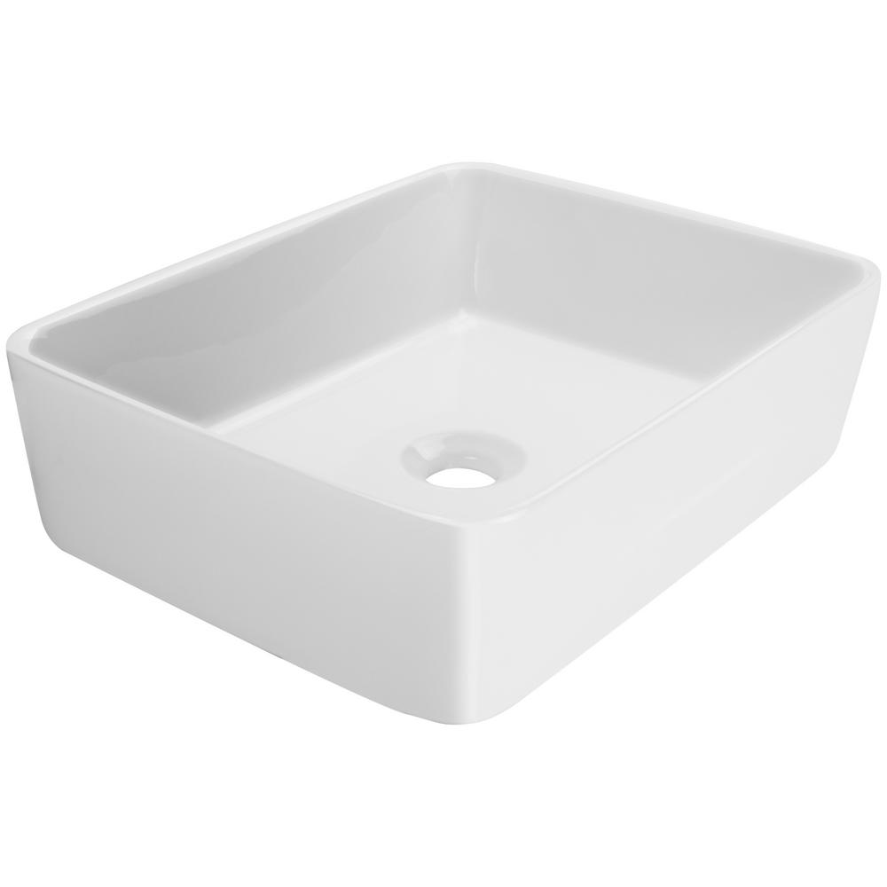 Infinity Sink: Eden Bath Rectangular Infinity Pool Vessel Sink In White