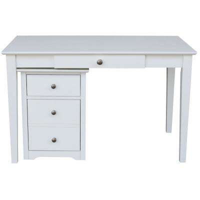 2-Piece Beach White 48 in. Writing Desk and Rolling File