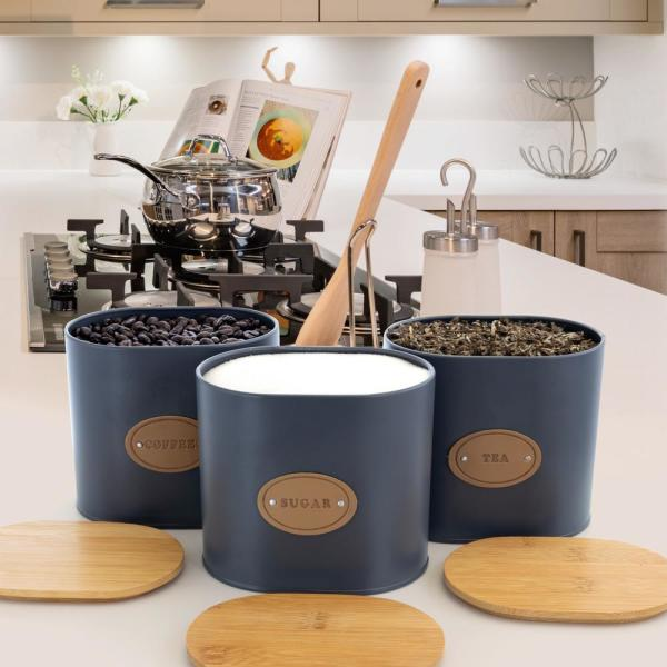 Kitchen Food Storage and Organization 5-Piece Canister Set with Bamboo Lids